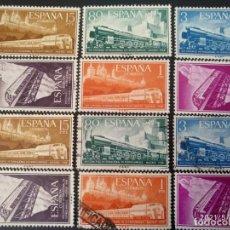 Sellos: ESPAÑA, 6 SELLOS NUEVOS + 6 USADOS, 2 SERIES COMPLETAS DE 1955 @. Lote 261677505