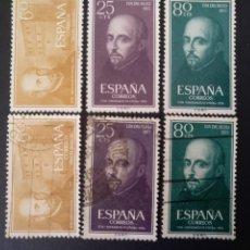 Sellos: ESPAÑA, 6 SELLOS, 2 SERIES COMPLETAS EN NUEVO Y EN USADO DE 1955 @. Lote 261678525