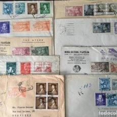 Selos: LOTE DE 9 CARTAS CIRCULADAS AL EXTRANJERO, FRANQUEADAS CON SELLOS INTERESANTES,. Lote 262290995
