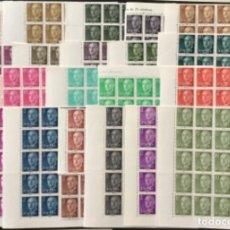 Sellos: 1955/1956 ESPAÑA SERIE BÁSICA FRANCO EDIFIL 1143/63 MNH** - 25 SERIES COMPLETAS ENBLOQUES - VC: 775€. Lote 262292000