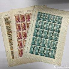 Sellos: ESPAÑA, 1960. EDIFIL 1322/24. MONASTERIO DE SAMOS. NUEVOS. SIN FIJASELLOS. PLIEGOS DE 25 SELLOS.. Lote 262708745