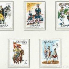 Francobolli: 1974. ESPAÑA. EDIFIL 2197/2201**MNH. YVERT 1852/56. UNIFORMES MILITARES/MILITARY UNIFORMS.. Lote 262908260