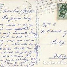 Sellos: ESPANA & CIRCULADO, BARCELONA, PLAZA DE CATALUÑA, MONTIJO PORTUGAL 1963 (2096). Lote 262960355