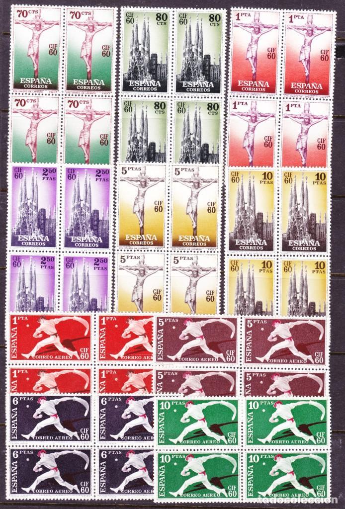 E42 CIF60 EDIFIL Nº 1280-89 ** SIN FIJASELLOS EN BLOQUE DE 4 ALGÚN SELLO GOMA TONALIZADA (Sellos - España - II Centenario De 1.950 a 1.975 - Nuevos)