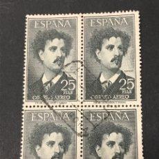 Sellos: EDIFIL 1164 FORTUNY , BLOQUE DE CUATRO USADO, UNO CON DIENTE CORTO. Lote 263043045