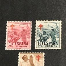 Sellos: EDIFIL 1103 A 1105 PRO TUBERCULOSOS, USADOS, SIMILARES A LOS DE LAS FOTOS. Lote 263051445