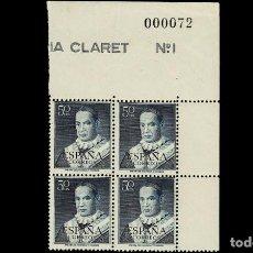 Sellos: ESPAÑA - 1951 - EDIFIL 1102 - BLOQUE DE 4 - LUJO - MNH** - NUEVOS - ESQUINA/CABECERA DE HOJA.. Lote 263590895
