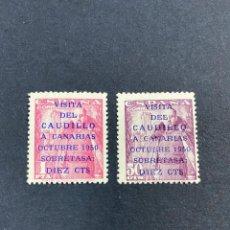 Sellos: ESPAÑA, 1951. EDIFIL 1088/89. VISITA DEL CAUDILLO A CANARIAS. CORREOS. NUEVO. CON CHARNELA. Lote 263645755