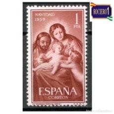 Sellos: ESPAÑA 1959. EDIFIL 1253. NAVIDAD -SIN FIJASELLO- NUEVO** MNH. Lote 263740695