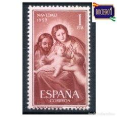 Sellos: ESPAÑA 1959. EDIFIL 1253. NAVIDAD -SIN FIJASELLO- NUEVO** MNH. Lote 263740740