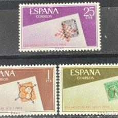 Sellos: ESPAÑA, 1966. EDIFIL 1723/25. DIA MUNDIAL DEL SELLO. SERIE COMPLETA. NUEVO. SIN FIJASELLOS. Lote 267906649