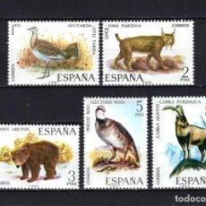 Selos: 1971 ESPAÑA EDIFIL 2036/2040 FAUNA HISPÁNICA MNH** NUEVOS SIN FIJASELLOS. Lote 268266699