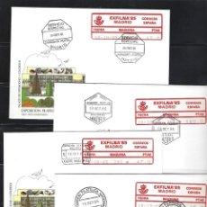 Sellos: ESPAÑA ETIQUETAS CONMEMORATIVA 1985 EXFILNA 2A/D MADRID 4 SOBRES. Lote 268449669