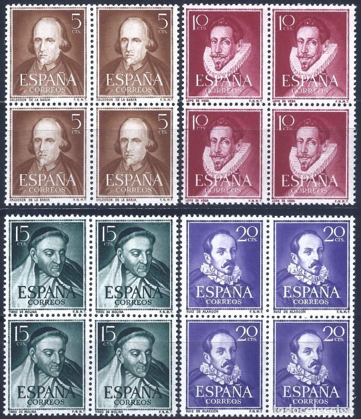 EDIFIL 1071-1074 LITERATOS 1950-1953 (SERIE COMPLETA EN BLOQUES DE 4). MNH ** (SALIDA: 0,01 €). (Sellos - España - II Centenario De 1.950 a 1.975 - Nuevos)