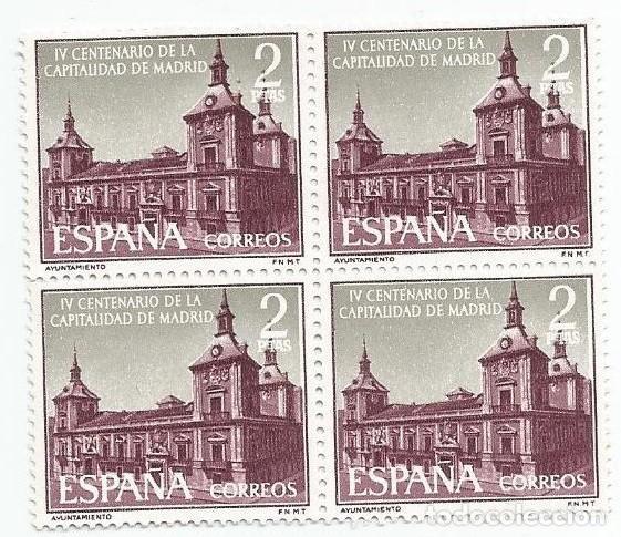 BLOQUE DE 4 SELLOS NUEVOS DE 1961- IV CENTENARIO CAPITALIDAD DE MADRID - VALOR 2 PTS- EDIFIL 1390 (Sellos - España - II Centenario De 1.950 a 1.975 - Nuevos)