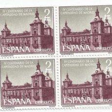 Sellos: BLOQUE DE 4 SELLOS NUEVOS DE 1961- IV CENTENARIO CAPITALIDAD DE MADRID - VALOR 2 PTS- EDIFIL 1390. Lote 268937289