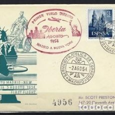 Sellos: ESPAÑA 1954 - SOBRE DEL PRIMER VUELO DIRECTO DE MADRID A NUEVA YORK, CON 2 SELLOS EDIFIL 1131. Lote 269229578