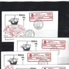 Sellos: ESPAÑA ETIQUETAS CONMEMORATIVA 1986 3A/6 EXPOFIL V PUERTO DE LA CRUZ. 4 SOBRES. Lote 269712438