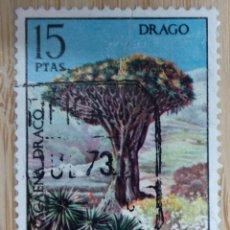 Sellos: ESPAÑA, 1973, FLORA, DRAGO, EDIFIL 2124, USADO,. Lote 270255728