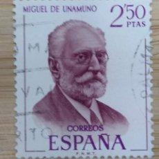 Sellos: ESPAÑA - UN SELLO - EDIFIL:#1994 - ***LITERATOS - MIGUEL DE UNAMUNO** - AÑO 1970 - USADO. Lote 270257148