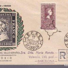 Francobolli: F3-25- SOBRE MATASELLOS ESPECIAL ECSE MADRID BARCELONA. 1950. CON SELLOS AÉREOS CENTENARIO. Lote 272786088