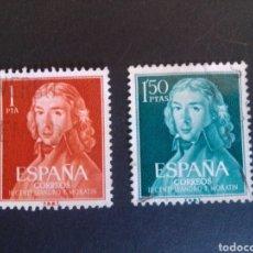 Sellos: CENTENARIO DE MORATIN. 1961. EDIFIL 1328/1329. SERIE COMPLETA. USADA.. Lote 274665838