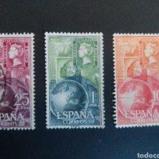 Sellos: DÍA DEL SELLO. 1964. EDIFIL 1595/1597. SERIE COMPLETA. USADA.. Lote 274669503