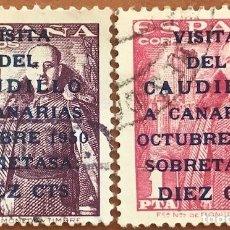 Sellos: EDIFIL 1088-1089 SERIE COMPLETA SELLOS USADOS ESPAÑA AÑO 1951 VIAJE A CANARIAS GENERAL FRANCO. Lote 276010313