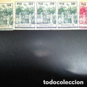 SELLOS FISCALES SELLADOS 4 DE 300 PTAS NUMERACIÓN CORRELATIVA 1 DE 200 PTAS + BONO REGALO 2 SELLOS (Sellos - España - II Centenario De 1.950 a 1.975 - Usados)