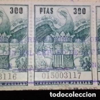 Sellos: Sellos fiscales sellados 4 de 300 ptas numeración correlativa 1 de 200 ptas + bono regalo 2 sellos - Foto 2 - 276187823
