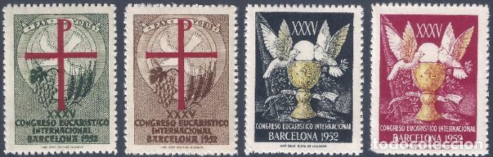 VIÑETAS DEL XXXV CONGRESO EUCARÍSTICO INTERNACIONAL. BARCELONA 1952. (Sellos - España - II Centenario De 1.950 a 1.975 - Nuevos)