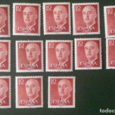 Sellos: 13 SELLOS NUEVOS ESPAÑA. 1955-56. GENERAL FRANCO. 10 CTS.. Lote 277088888