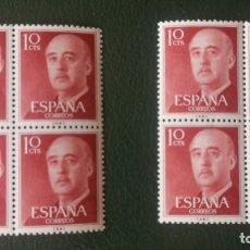 Sellos: 2 BLOQUES DE 4 SELLOS NUEVOS ESPAÑA. 1955-56. GENERAL FRANCO. 10 CTS.. Lote 277089113