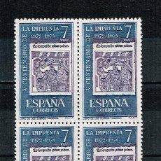 Sellos: ESPAÑA 1973 - EDIFIL 2165** - V CENTENARIO DE LA IMPRENTA - BLOQUE DE 4 - NUEVO - SERIE NO COMPLETA. Lote 277146728