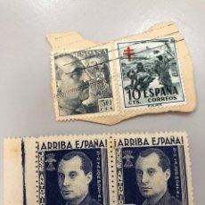 Sellos: LOTE CUATRO SELLOS FRANCO Y LA FALANGE ARRIBA ESPAÑA JOSE ANTONIO 10 CENTIMOS Y 50. Lote 277563833