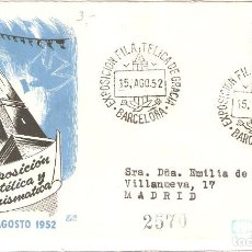"""Sellos: SOBRE CONMEMORATIVO, """"AGOSTO 1952: ''EXPO.. FILATÉLICA Y NUMISMÁTICA DE GRACIA - BARCELONA./ FOTO.. Lote 277730333"""