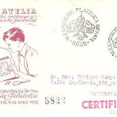 """Sellos: SOBRE CONMEMORATIVO, """"AGOSTO 1952: ''EXPO.. FILATÉLICA Y NUMISMÁTICA DE GRACIA - BARCELONA./ FOTO.. Lote 277730503"""