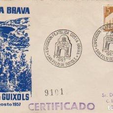 Sellos: SOBRE CONMEMORATIVO, 1-5 AGOSTO 1957: ''1ª EXP. FILATÉLICA COSTA BRAVA-S.FELIU DE GUIXOLS'.../ FOTO.. Lote 278632013