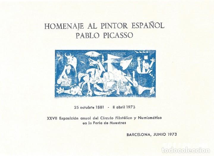 HOMENAJE A PABLO PICASSO 1973. HOJA RECUERDO EXPOSICIÓN CÍRCULO FILATÉLICO Y NUMISMÁTICO. (Sellos - España - II Centenario De 1.950 a 1.975 - Nuevos)