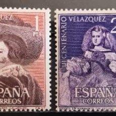 """Sellos: ESPAÑA 1961. EDIFIL 1340/1342. SERIE COMPLETA """"CENTENARIO VELÁZQUEZ. LUJO. MNH***. Lote 288056778"""