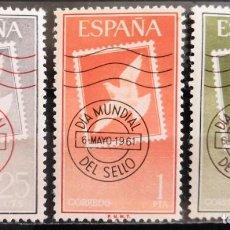 """Sellos: ESPAÑA 1961.EDIFIL 1348/1350. SERIE COMPLETA """"DÍA MUNDIAL DEL SELLO"""". MNH***. Lote 288071588"""