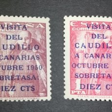 Sellos: ESPAÑA 1951 EDIFIL 1088-1089 VISITA DEL CAUDILLO A CANARIAS - ORIGINALES. NUEVOS SIN CHARNELA MNH. Lote 288650648