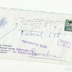 Sellos: CIRCULADA DE VALENCIA A BARCELONA CON SELLO PLAN SUR Y DEVUELTA AL REMITENTE. Lote 289867623
