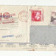 Sellos: CIRCULADA DE VALENCIA A FRANCIA CON SELLO PLAN SUR Y FRANQUICIA VILARRASA. Lote 289868013