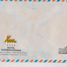 Sellos: HOTEL TORREMANGANA - CUENCA - SOBRE ENVÍOS POSTALES, NUEVO A ESTRENAR - AÑOS 70. Lote 294927413