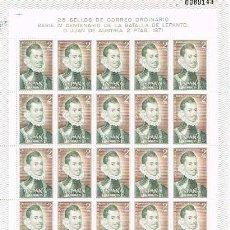 Sellos: [A0191] ESPAÑA 1971, PLIEGO IV CENTENARIO DE LA BATALLA DE LEPANTO, 2PTS (MNH). Lote 295554618