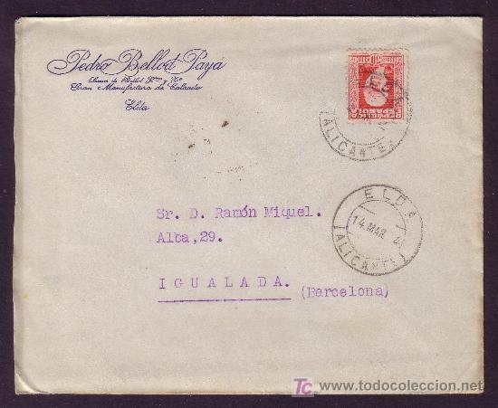 ESPAÑA. (CAT. 669). 1934. SOBRE DE ELDA (ALICANTE). 30 CTS. MAT. FECHADOR * ELDA/ALICANTE *. BONITA. (Sellos - España - II República de 1.931 a 1.939 - Cartas)