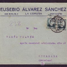 Sellos: ESPAÑA. (CAT. 665 (2)). 1933. SOBRE DE LA CORUÑA A IGUALADA. DOS SELLOS MAT. CORUÑA. MAGNÍFICA.. Lote 25548436