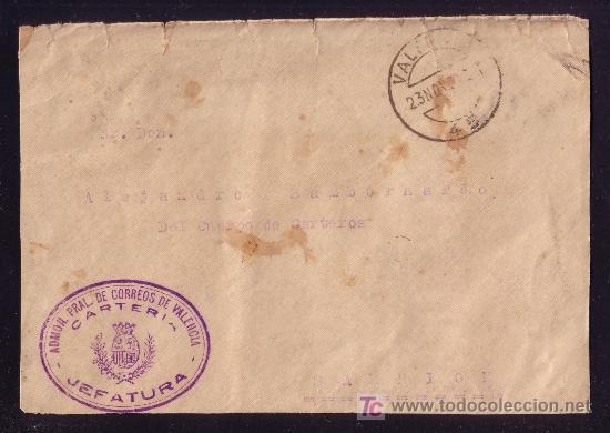 ESPAÑA. 1932. SOBRE DE VALENCIA A SARRIÓN. MARCA FRANQUICIA VIOLETA DE VALENCIA CARTERIA. MAGNÍFICA. (Sellos - España - II República de 1.931 a 1.939 - Cartas)