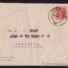 Sellos: ESPAÑA. (CAT. 659). 1931. SOBRE DE SANTANDER A ZARAGOZA. 30 C. PABLO IGLESIAS. MAT. SANTANDER. LUJO.. Lote 27573428